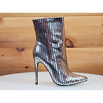 "Mac J Silver Metallic Pointed Toe 5"" High Heel Ankle Boot Shoe Black"