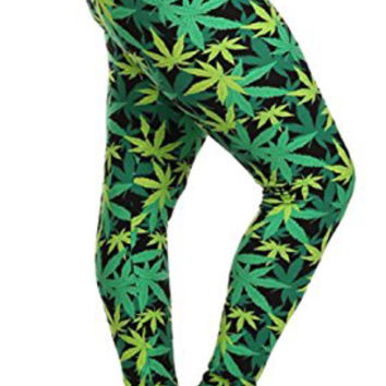 Marijuana Leaf Print Leggings