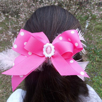 Girls Pink Hair Bow, Pink and White Polka Dots, feathers, stacked