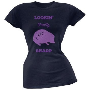LMFCY8 PAWS - Hedgehog Lookin' Pretty Sharp Navy Soft Juniors T-Shirt