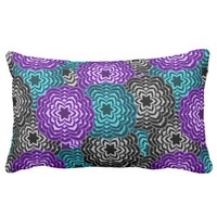 Turquoise Teal Blue Lavender Purple Grey Dahlia Lumbar Pillow