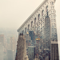 New York Skyline, NYC Photography, Flatiron, Empire State, Manhattan, Pastel, Pink, Beige - Midtown Daydreams