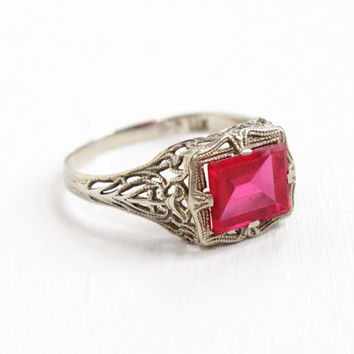 Antique 14k White Gold Art Deco Filigree Synthetic Ruby Ring - Size 7 3/4 Vintage 1920s 1930s Pink Stone Fine Jewelry With Open Metal
