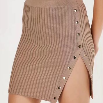 Pink High Waist Button Side Rib Knit Bodycon Mini Skirt