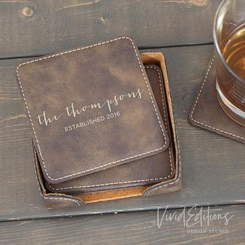 Square Personalized Leather Coaster Set of 6 - Rustic CB06