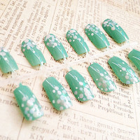 Fake Nails - Teal Green Nail Set - Gradient Polka Dots - Reusable Press On False Nails - Medium Long Nail Tips - Free Nail Adhesive Tabs