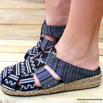 Womens Ethnic Shoes In Earthy  Black and Brown Hmong Embroidery  Slides