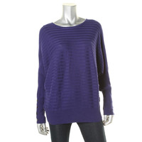 Alfani Womens Knit Ribbed Trim Pullover Sweater