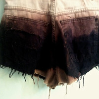 burgandy dip dyed distressed high waisted cutoffs