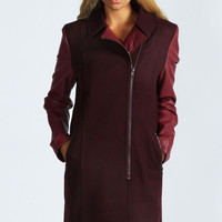 Colette PU Sleeve and Collar Wool Mix Biker Coat