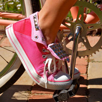 Pink Studded Converse All Star Sneakers - Three Tone Pink Vintage Sneaker