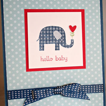 Baby Boy Card, Baby Card, Handmade Baby Card, Baby Greeting Card, Baby Shower Card, Hand stamped Baby Boy Card