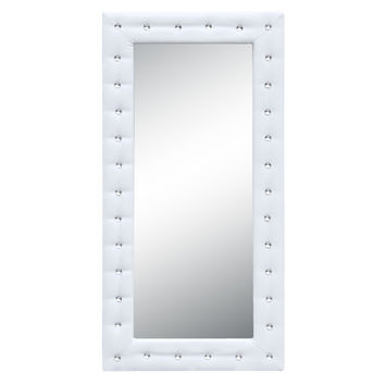 Tufted Mirror, White Eco Leather