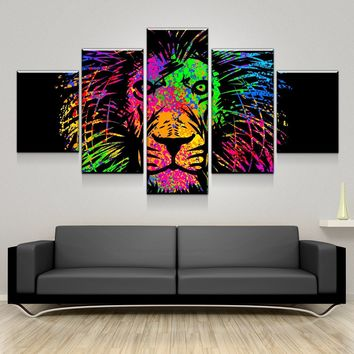 Rainbow Lion Painting Canvas Set