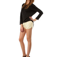 GOLD SEQUIN SHORTS WITH SLIT SIDES PA58009 - Small