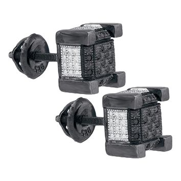 Sterling Silver Mens Round Black Color Enhanced Diamond 3D Square Cluster Earrings 1-10 Cttw - FREE Shipping (US/CAN)