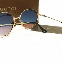 Gucci Classic Vintage Round Mirror Brand Designer Sunglasses Metal Lady Circle Retro UV400 Women Or Men  Sun Glasses Rays Victory [2974244576]