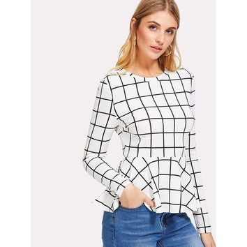 Grid Peplum Top White