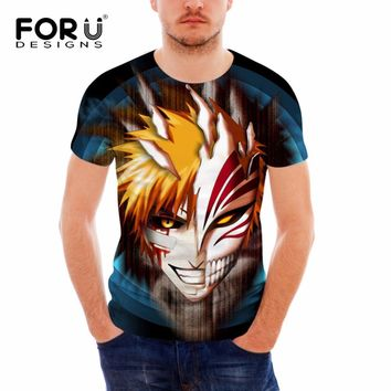 FORUDESIGNS Cool 3D Anime Bleach Print T Shirt for Men Summer Short Sleeve Male Fitness Top Tees Brand Clothes Teens Boys Tshirt