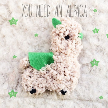 Stuffed Animals Alpaca Brooch - Felt Brooch - Alpaca Pin - Stuffed Alpaca Toy - Plush Alpaca