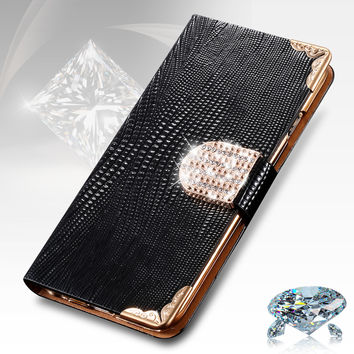 For iphone 4s 5s Case Fashion Bling Diamond Luxury Rhinestone Leather Wallet Case For Apple iPhone 4 4S 5s 6 6s Case Card Holder