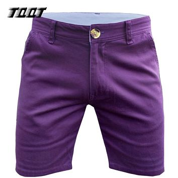 Casual Shorts Elastic Waist Simple Design Jean Short Joggers Pockets Pantaloons Straight Shorts
