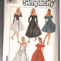 Vintage 80s dress pattern Off Shoulder Fitted Bodice Sleeve Hem Variations