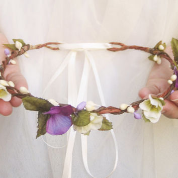 Purple Flower Crown, Bridal Headpiece, Spring Blossoms, Floral Headband, Purple Ivory Wreath, Wedding Hair Accessories, Rustic, Violets
