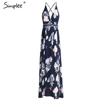 Simplee Sexy backless boho print split maxi dress Women sleeveless cross lace up beach summer dress Soft chiffon long dress robe