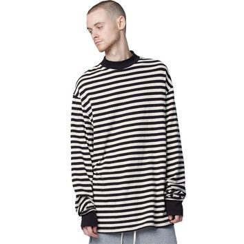 Newest Fashion Men Brand Kanye West Justin bieber O-neck Striped Long Sleeve T-shirt Top Tee shirt
