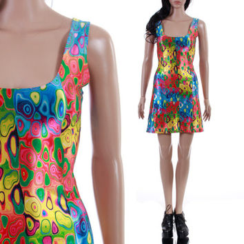 1990's Colorful Bodycon Tank Mini Dress 1990's Vintage Raver Club Kid Psychedelic Printed Lisa Frank Kawaii Clothing Womens Size XS