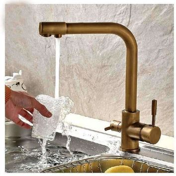 Luxury Antique Brass Kitchen Faucet Hot & Cold Vessel Mixer Tap Pure Water Spout Vanity Faucet