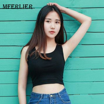 Mferlier Women Summer Basic Sleeveless Crop Top U Collar Solid White Gray Black Casual Breathable Cotton Tank Top