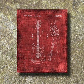 Guitar Patent Art Illustration Printable Instant Download Print Poster UP001red