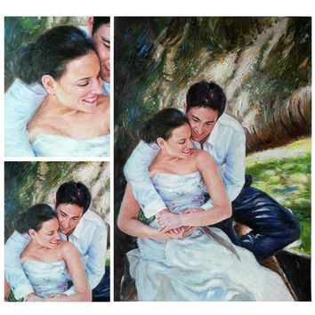 Customer  portrait painting on canvas,wedding oil portrait  painting from photo family picture,order hand painted oil paintings