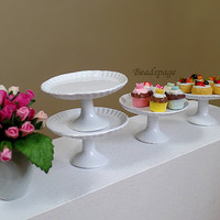 1:6 Scale Dollhouse Miniature Pastry Display Stand, Metal, Platter, Cakes, Cookies, Tarts, Pie, Plate, Doll Kitchen