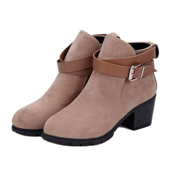 Wrap Buckle Ankle Boots