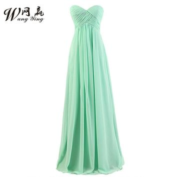 Discount Bridesmaid Gowns Sweetheart Sleeveless A-Line Mint Green/Red/Organza/Navy Blue/Gray/Coral Chiffon Bridesmaid Dresses