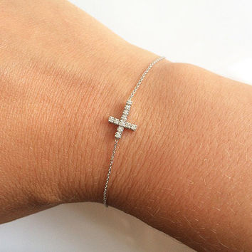 Cross bracelet- sterling silver cross bracelet . Cz rhodium plated charm bracelet. Everyday bracelet