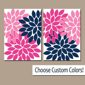 Navy Pink WALL Art Canvas or Prints Navy Blue Pink Bathroom Artwork Bedroom Pictures Nursery Decor Floral Dahlia Flower Burst Petal Set of 2