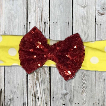 Minnie Mouse Inspired Big Bow Sequin Headband