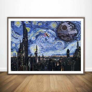 Star Wars Trippy Psychedelic Starry Night Movie Wall Art Paint Wall Decor Canvas Prints Canvas Art Poster Oil Paintings NoFrame