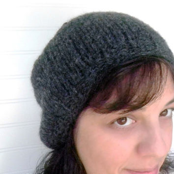 Hand Knit Hat Charcoal Grey Wool by WindyCityKnits on Etsy