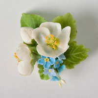 Handmade designer unique brooch with tender polymer clay white and blue flowers