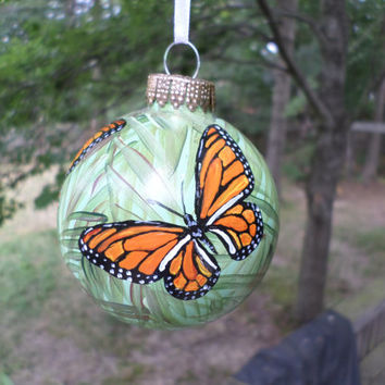 Hand Painted Christmas Glass Ornament Monarch  butterflies no.05