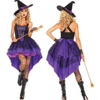 Plus Size XXL-S Halloween Witch Costume For Women Adult Sexy Purple Swallow Tail Braces Dress Hat Carnival Party Female Suit