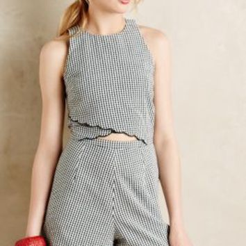 Scalloped Gingham Romper by