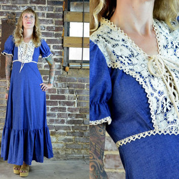 Vintage 70's Cotton Denim & Crochet Lace Gunne Sax Style Prairie Dress
