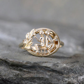 Vintage Gemini Zodiac Ring – 10K Yellow Gold – Twins – June Birthday – Astrological Sign