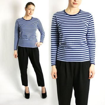 MARIMEKKO 90's Navy Blue Striped Sailor Top Blouse Round Neckline with Binding Long Sleeves - Xsmall to Small
